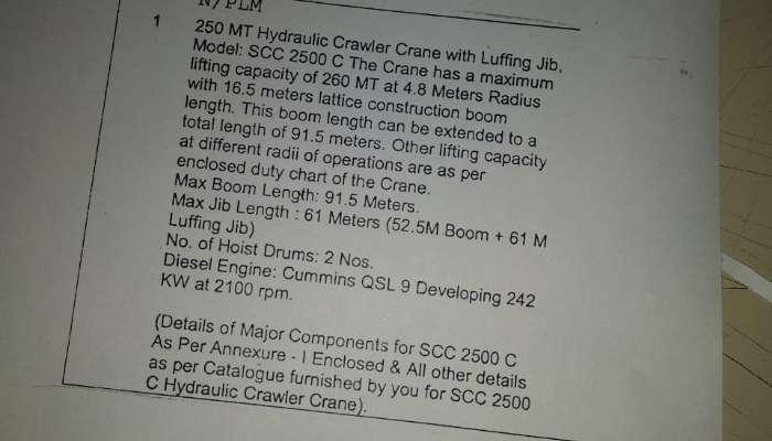 used sany crane in bhilai chhattisgarh sany make 250 tons crawler crane he 1747 1580099136.webp