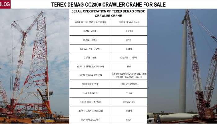 TEREX DEMAG CC 2800 CRAWLER CRANE FOR SALE